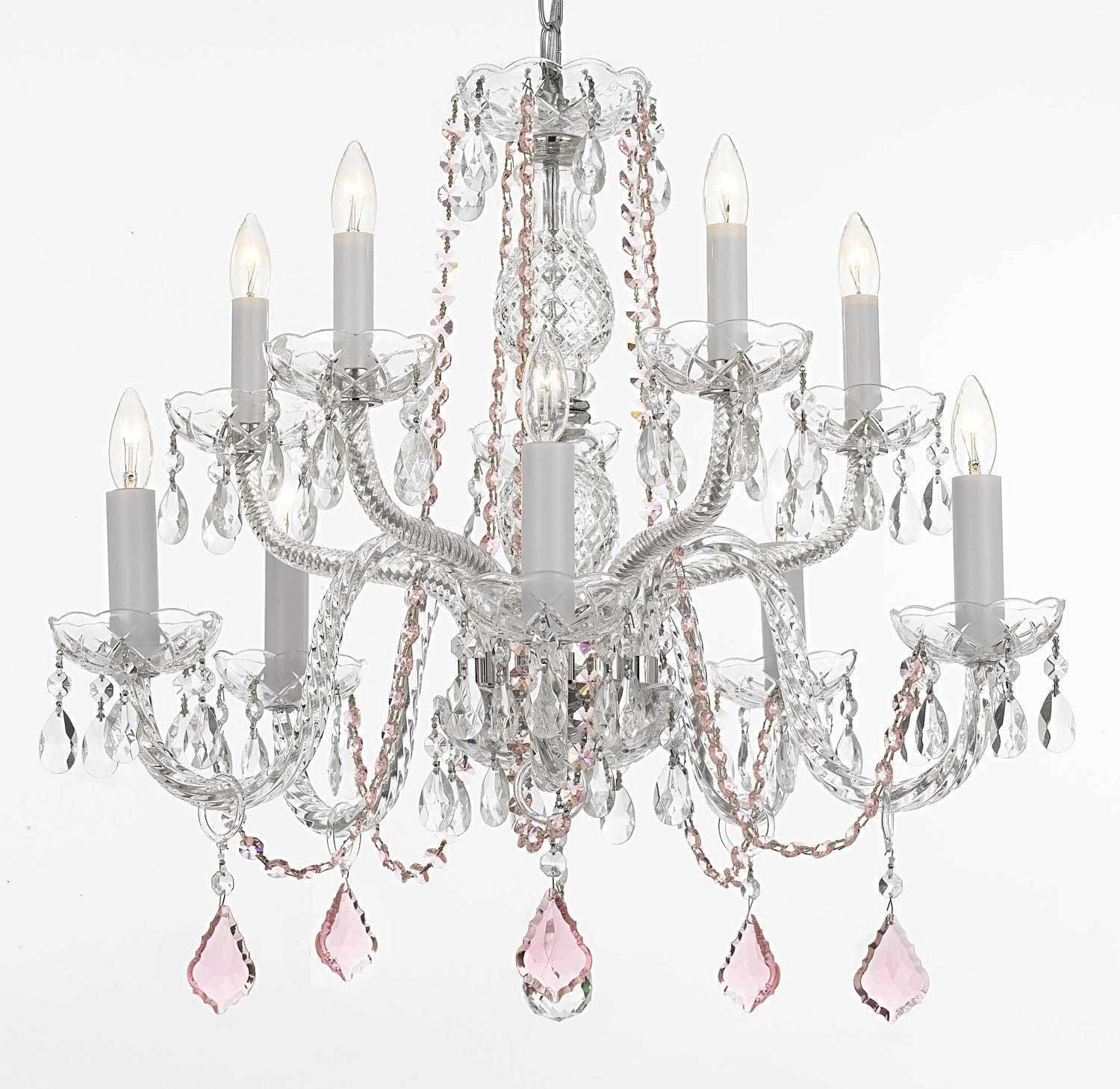 Crystal Chandelier Lighting With Pink Crystal