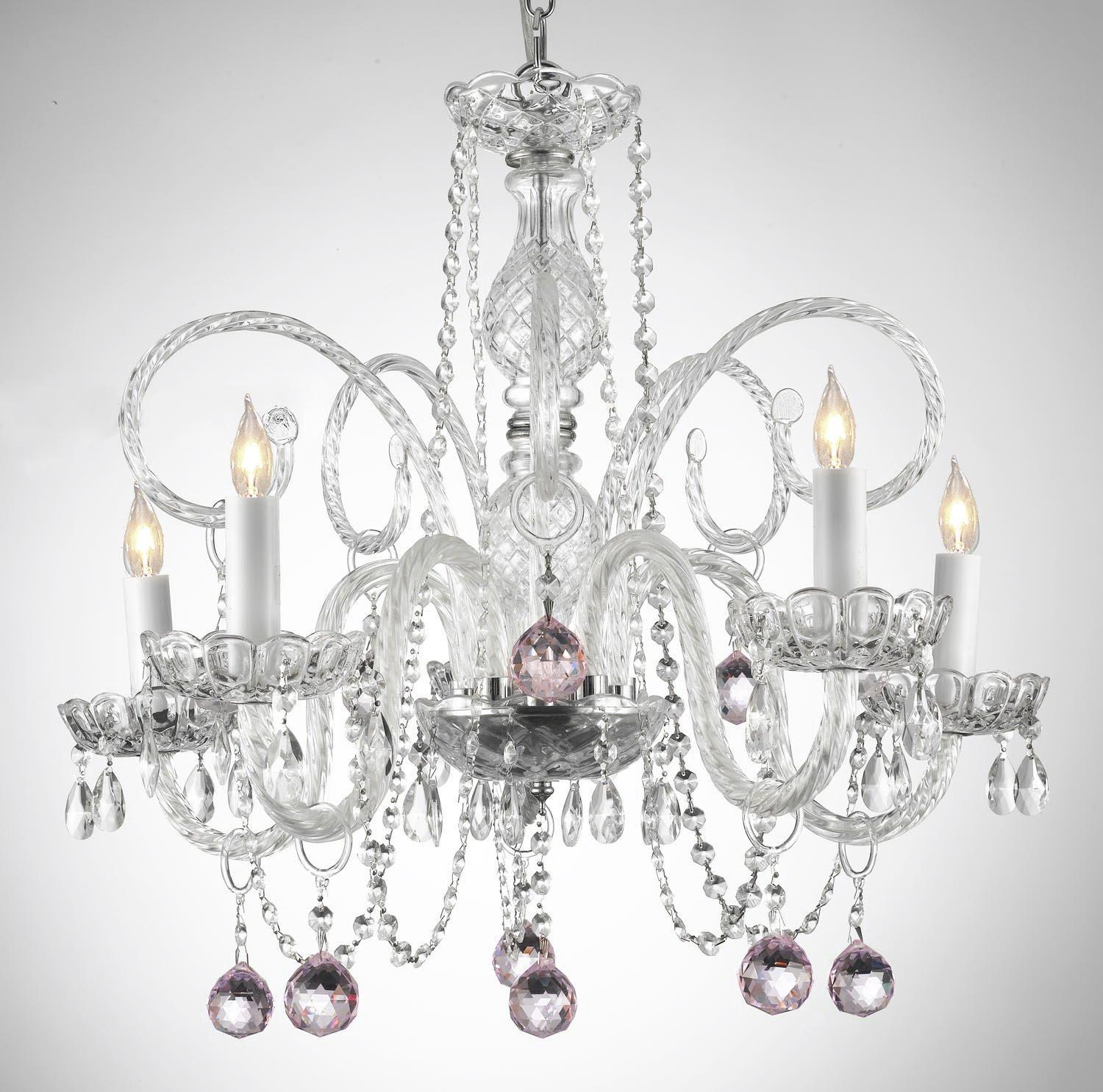 Crystal Chandelier Lighting With Pink Crystal Balls