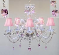 Swag Plug In Chandelier Lighting With Crystal Pink Hearts and Pink Shades H25 x W24