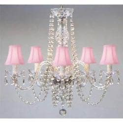Authentic All Crystal Chandelier With Pink Shades