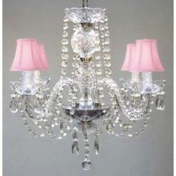 All Crystal Swag Plug In Chandelier With Pink Shades H17 x W17 - Thumbnail 0