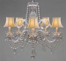 Crystal Swag Plug In Chandelier Lighting With White Shades H25 x W24 - Thumbnail 0
