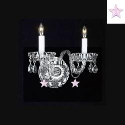 Murano Venetian Style Empress Crystal Wall Sconce With Pink *Stars* & Shades