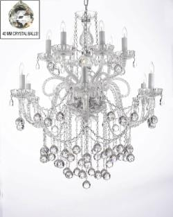 Crystal Chandelier Lighting With Crystal Balls H38 x W32