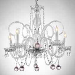Crystal Chandelier Lighting With Pink Crystal Balls - Thumbnail 0