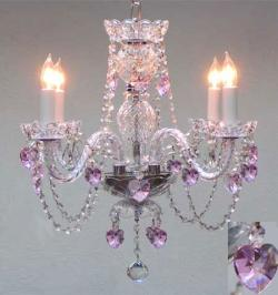 Crystal Chandelier Lighting With Pink Crystal*Hearts*H17 x W17