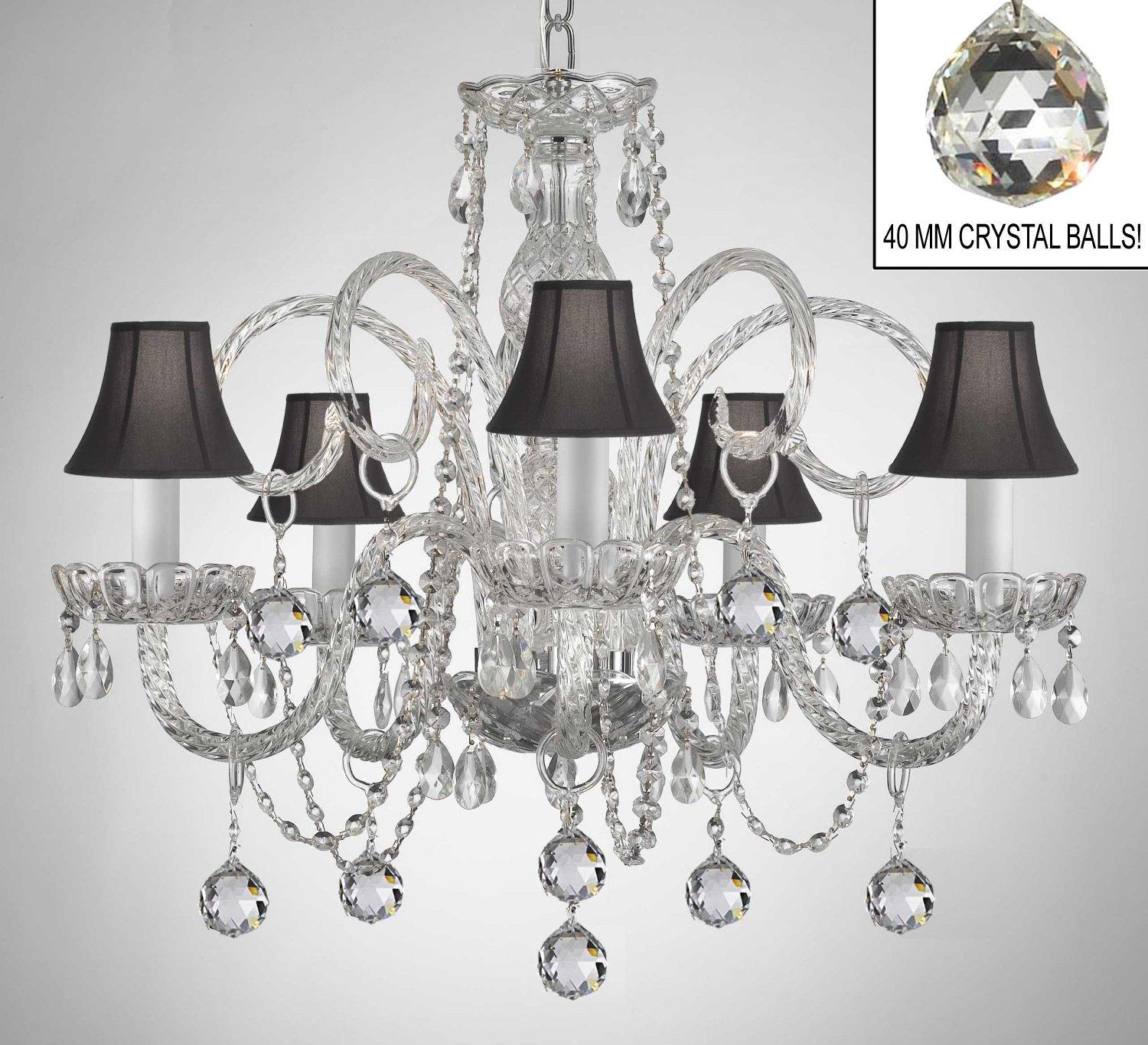 Crystal Chandelier With Black Shades & Crystal Balls