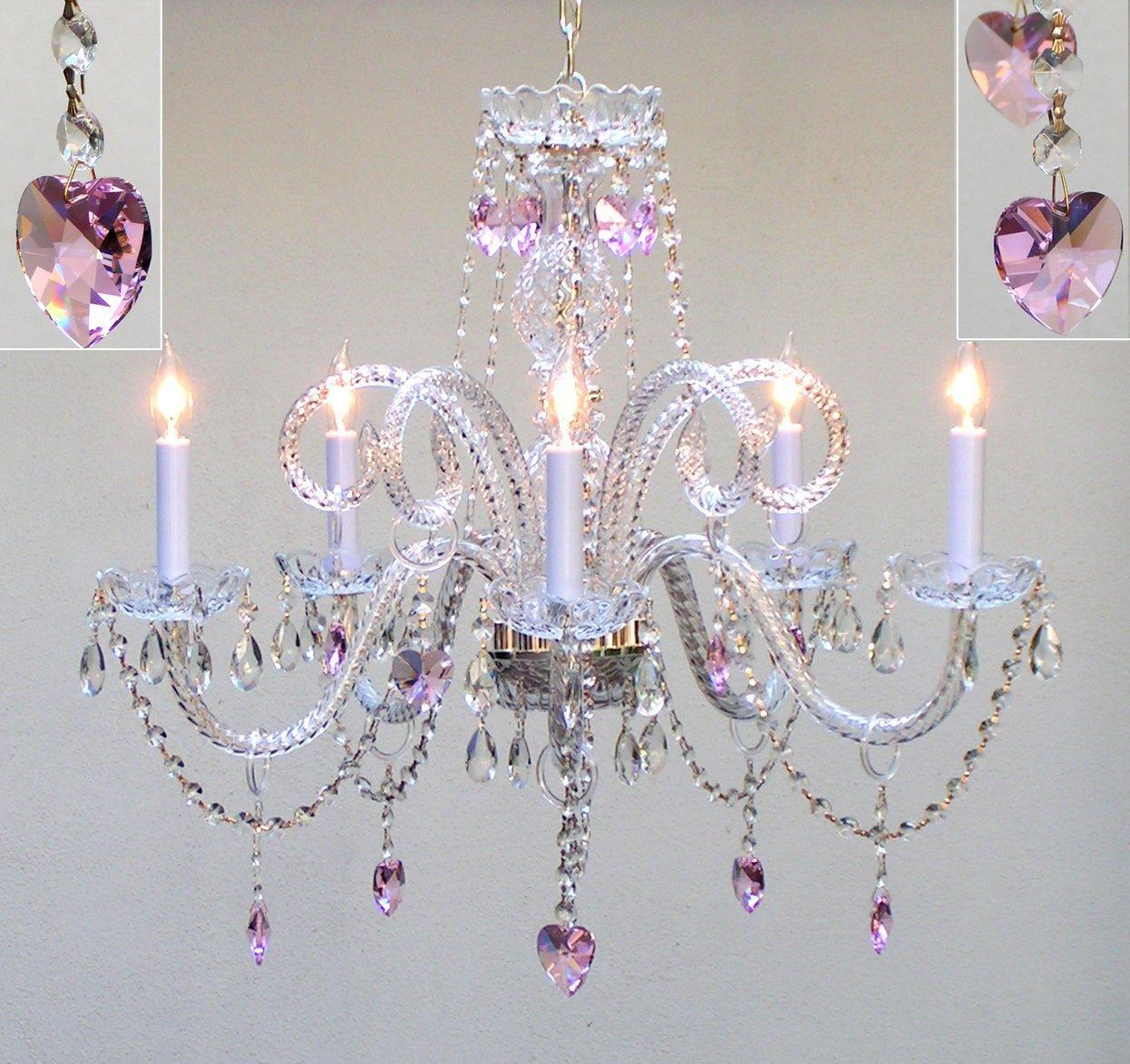Thumbnail Swag Plug In Chandelier Lighting With Pink Crystal Hearts H25 X W24