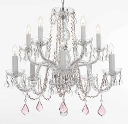 Crystal Chandelier Lighting With Pink Crystal - Thumbnail 0
