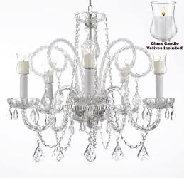 Crystal Chandelier Lighting With Candle Votives H25 x W24 For Indoor/Outdoor Use - Thumbnail 0