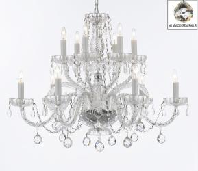 Murano Venetian Style Empress All Crystal Chandelier Lighting With Crystal Balls