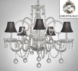 Crystal Chandelier With Black Shades & Crystal Balls - Thumbnail 0