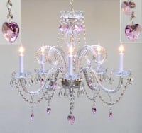 Swag Plug In Chandelier Lighting With Pink Crystal*Hearts*H25 x W24