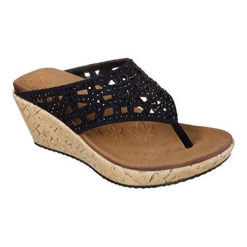 b78bb3a4ce5e Shop Women s Skechers Beverlee Dazzled Wedge Sandal Black - Free Shipping  On Orders Over  45 - Overstock - 11150370