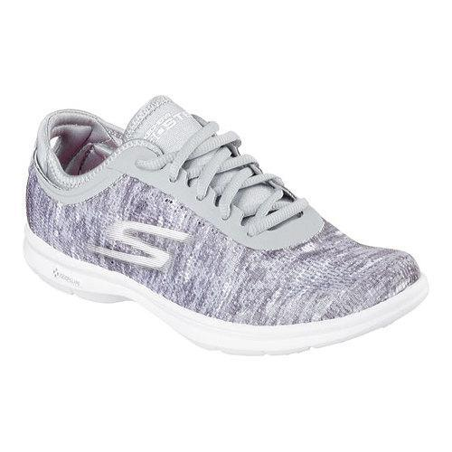 e3666e1561e2 Shop Women s Skechers GO STEP One Off Lace Up Gray White - Free ...