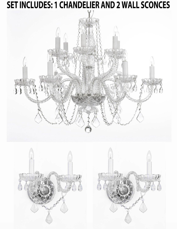 *3 Piece Set* Lighting Set Crystal Chandelier H27 x W32 & 2 Wall Sconces