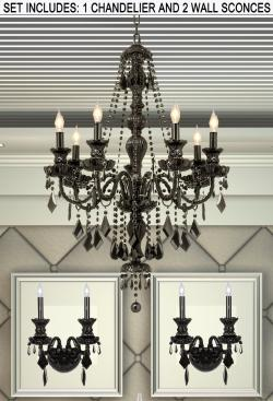 *3 Piece Set* Lighting Set Jet Black Crystal Chandelier & 2 Wall Sconces - Thumbnail 0