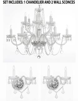 *3 Piece Set* Lighting Set Crystal Chandelier H27 x W32 & 2 Wall Sconces - Thumbnail 0