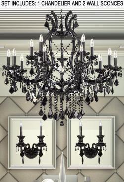*3 Piece Set* Lighting Set Jet Black Crystal Chandelier & 2 Wall Sconce