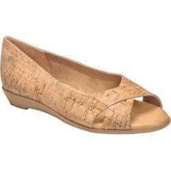 Women's Aerosoles Silver Platter Peep Toe Flat Cork Combo