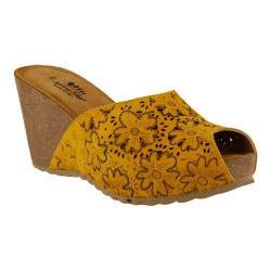 Women's Spring Step Bojana Wedge Sandal Yellow Suede