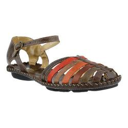 Women's Spring Step Chilton Closed Toe Sandal Brown Multi Leather