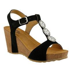 Women's Spring Step Moriah T Strap Sandal Black Suede