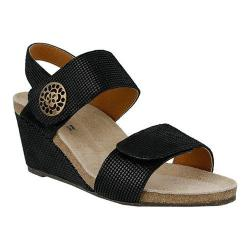Women's Spring Step Naila Wedge Sandal Black Leather