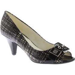 Women's Anne Klein Dane Open Toe Pump Black White/Black Synthetic