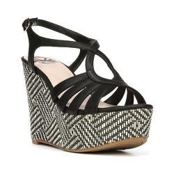 Women's Fergalicious Roxine Sandal Black/Raffia Synthetic Leather