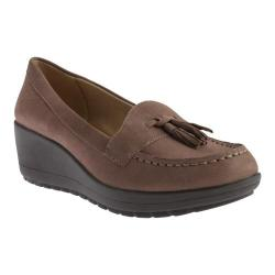 Women's Easy Spirit Coria Wedge Loafer Dark Taupe/Dark Taupe Nubuck