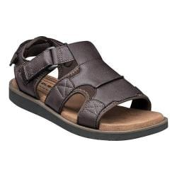 Men's Nunn Bush Boardwalk Fisherman Sandal Brown Synthetic Crazy Horse/Suede