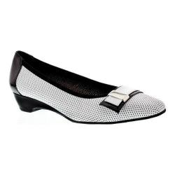 Women's Rose Petals by Walking Cradles Brooklyn Pump White Perfed Nappa/Black Patent