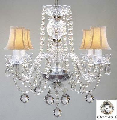 Venetian Style All Crystal Chandelier Lighting With Crystal Balls & White Shades