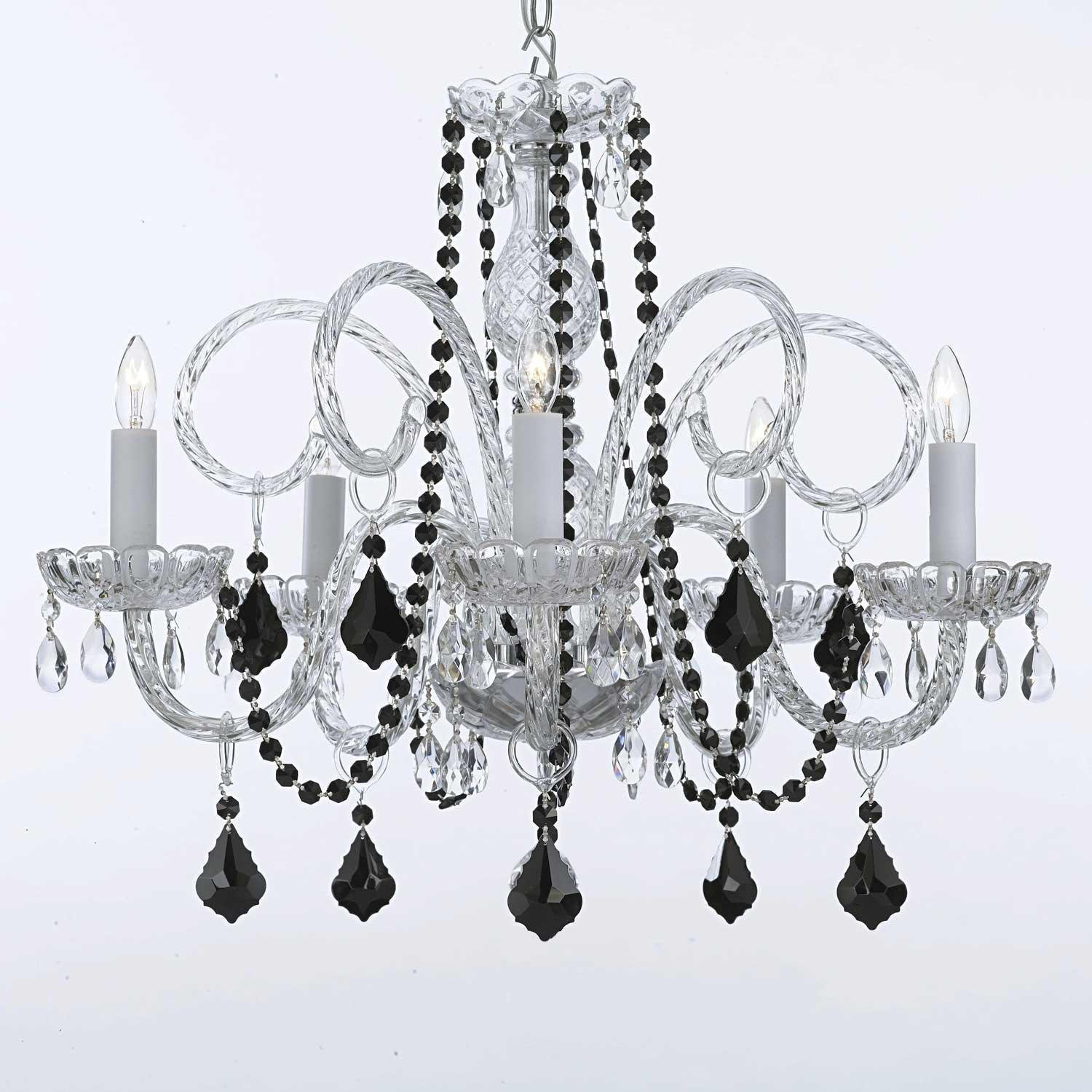 Venetian Style All Crystal Chandelier Lighting With Black Crystal