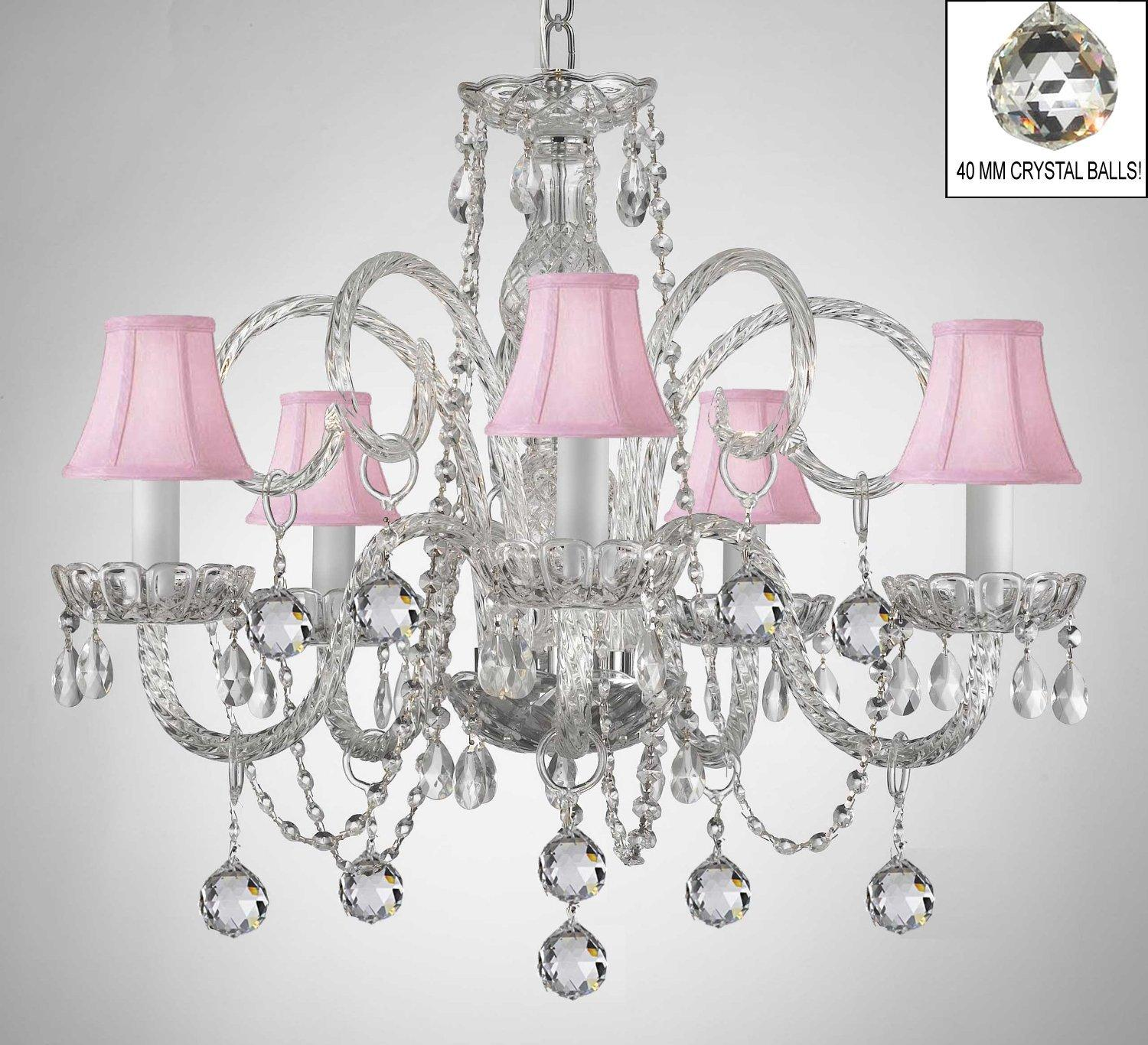 Crystal Chandelier With Pink Shades & Crystal Balls