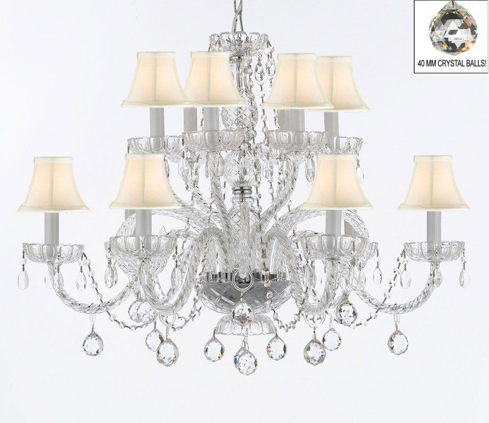 Venetian Style Empress All Crystal Chandelier Lighting With Crystal Balls & White Shades