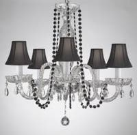 Crystal Chandelier Lighting With Black Color Crystal & Shades