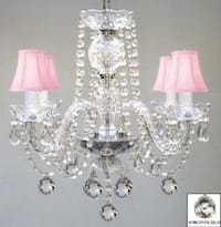 Venetian Style All Crystal Chandelier Lighting With Crystal Balls & Pink Shades