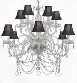 Venetian Style All Crystal Chandelier Lighting With Black Shades - Thumbnail 0