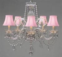 Crystal Chandelier Lighting With Pink Shades H25 x W24