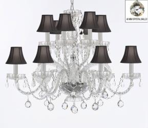 Venetian Style Empress All Crystal Chandelier Lighting With Crystal Balls & Shades - Thumbnail 0