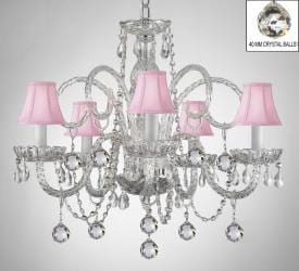 Crystal Chandelier With Pink Shades & Crystal Balls - Thumbnail 0