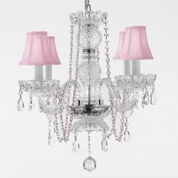 Crystal Chandelier Lighting With Pink Crystal & Shades