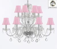 Venetian Style Empress All Crystal Chandelier Lighting With Crystal Balls & Pink Shades