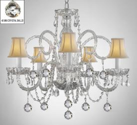 Crystal Chandelier With White Shades & Crystal Balls - Thumbnail 0