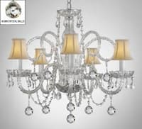Crystal Chandelier With White Shades & Crystal Balls