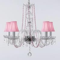 Crystal Chandelier Lighting With Pink Color Crystal & Shades