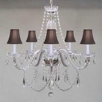 New Venetian Style Authentic All Crystal Chandelier Lighting With Black Shades