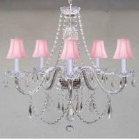New Venetian Style Authentic All Crystal Chandelier Lighting With Pink Shades
